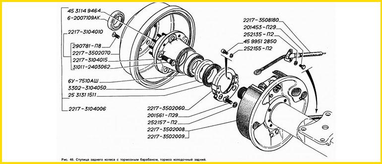 Ступица заднего колеса с тормозным барабаном