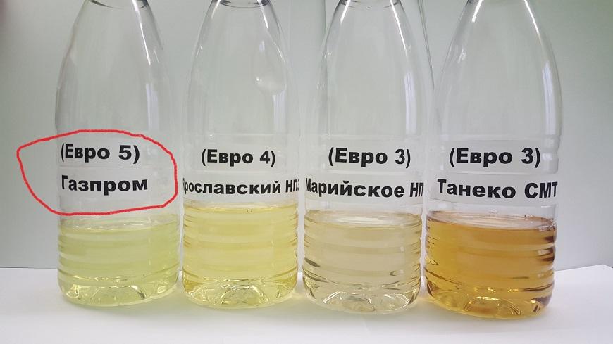 Цвет дизельного топлива у разных производителей